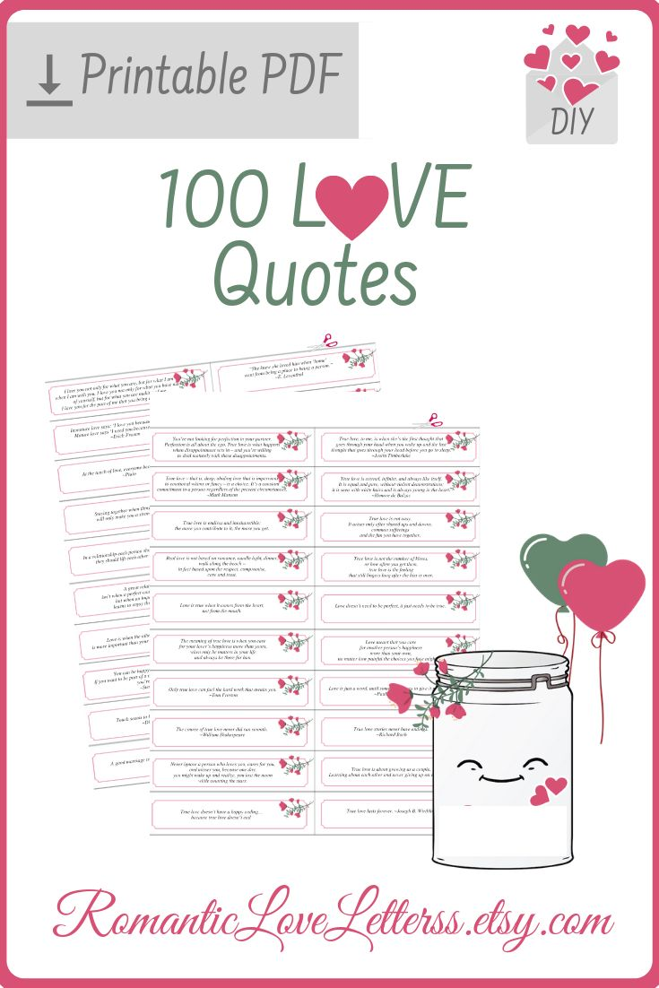 100 PRINTABLE True Love Quotes and Sayings For Him Her Inspirational Quotes About Love and Marriage Romantic Sentimental Gifts For Couples