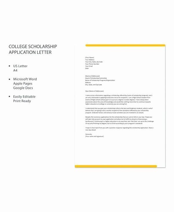 Cover Letter for Scholarship Luxury 10 Sample Scholarship ...