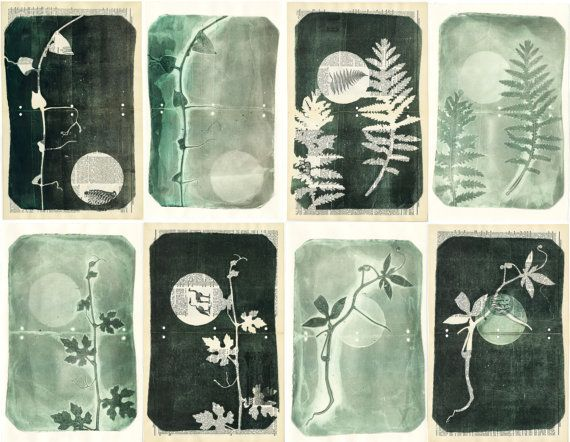 Set of eight original monoprints. on Etsy, £217.24