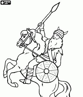 vikings coloring pages - viking riding a horse with a spear in his hand coloring
