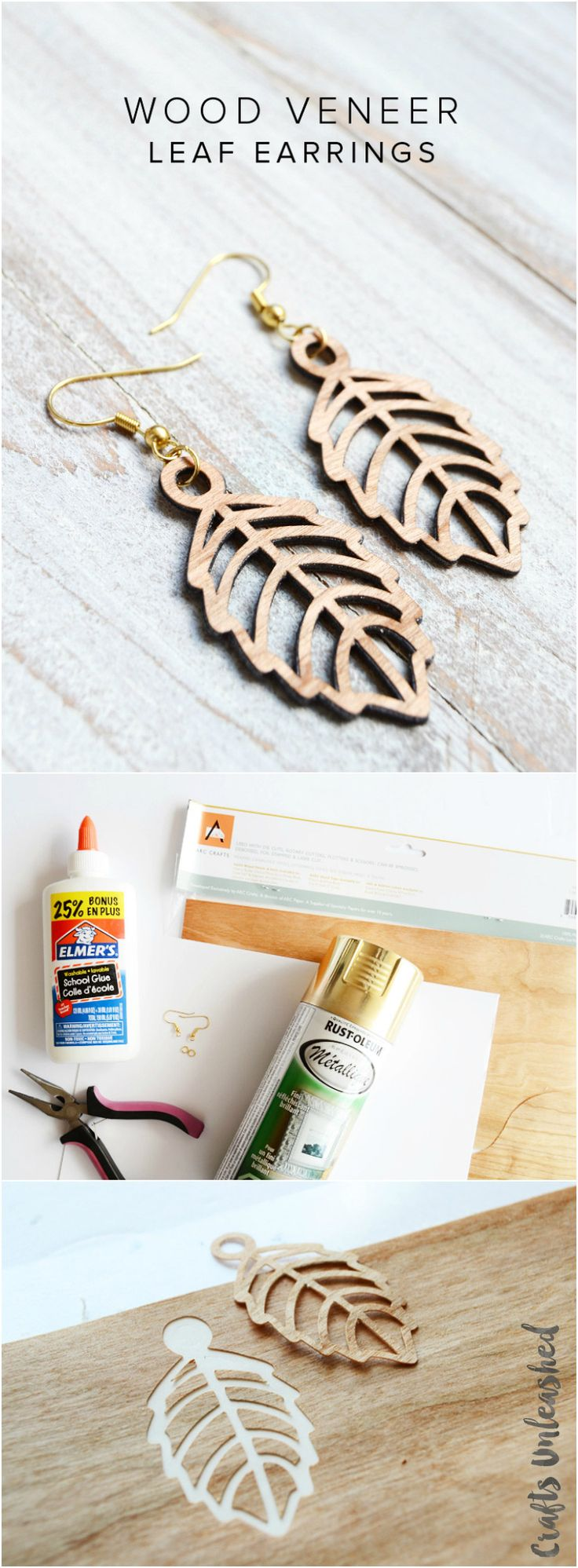 DIY Leaf Earrings Tutorial: Faux Laser Cut Wood - Consumer Crafts                                                                                                                                                                                 More
