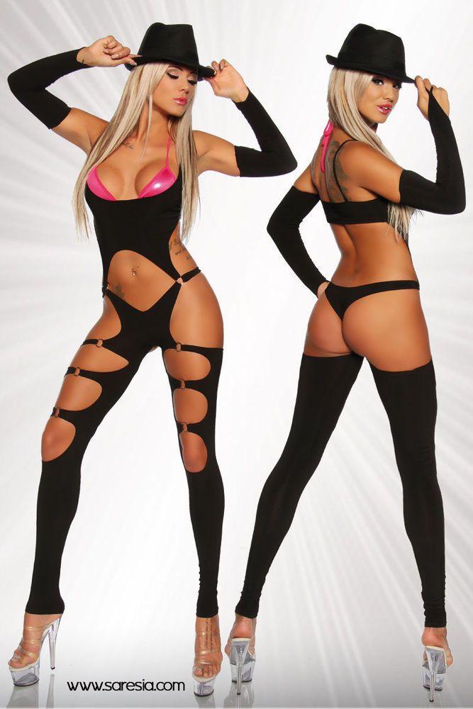 Gogo Overall Anzug Catsuit Table Dance Clubwear Sexy Body Saresia One Size NEU
