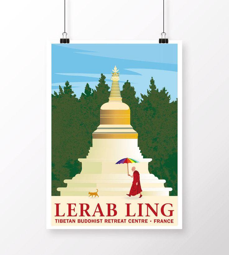Lerab Ling Stupa Poster by samuelhorwooddesign on Etsy