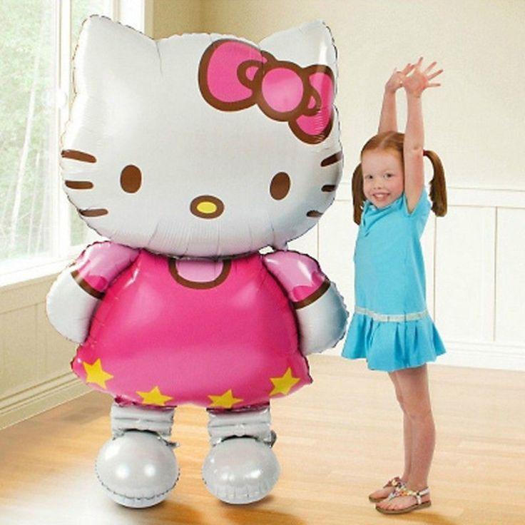 110*64センチメートル大サイズまたは80*47センチメートル小さなサイズhello kitty箔バルーン漫画子供空気風船パーティーの装飾女の子誕生日ギフト