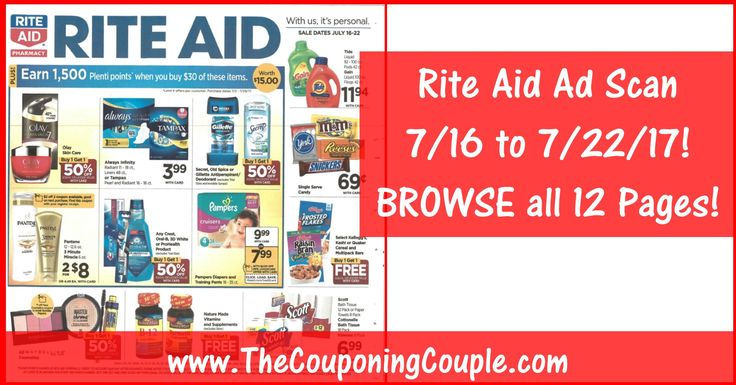 Who is Ready to Check Out the NEW  Rite Aid Ad Scan for 7/16 to 7/22/17? Click the Picture below to BROWSE all 12 Pages ►  http://www.thecouponingcouple.com/rite-aid-ad-scan-for-7-16-to-7-22-17/  PLEASE USE the SHARE button in the POST to SHARE this Rite Aid Ad with your Family and Friends!  Visit us at http://www.thecouponingcouple.com for more great posts!