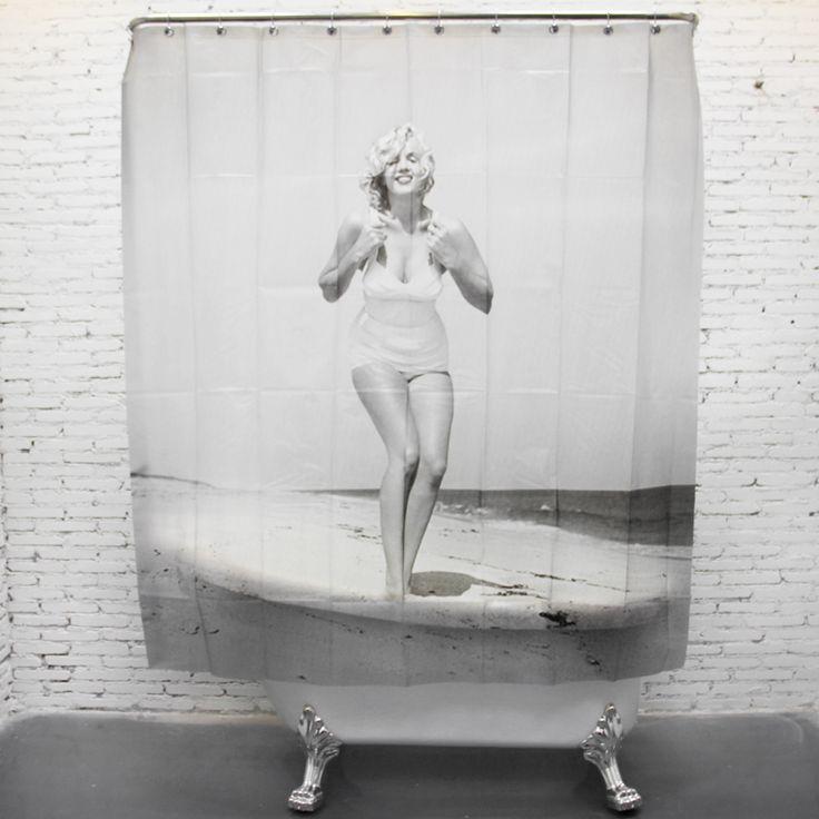 Marilyn Monroe On the Beach Funny Shower Curtains