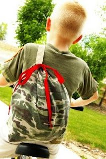 upcycled t shirt into sling backpack tutorial- fab for our annual bag making at Girl Scouts