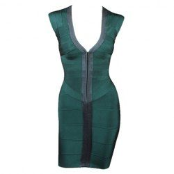 $37.36 Sexy Plunging Neck Color Splicing Zipper Front Sleeveless Bandage Dress For Women