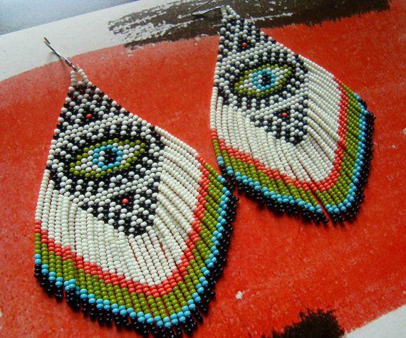 The Seeing Eye...Large Beaded Fringe Earrings by hoofandarrow