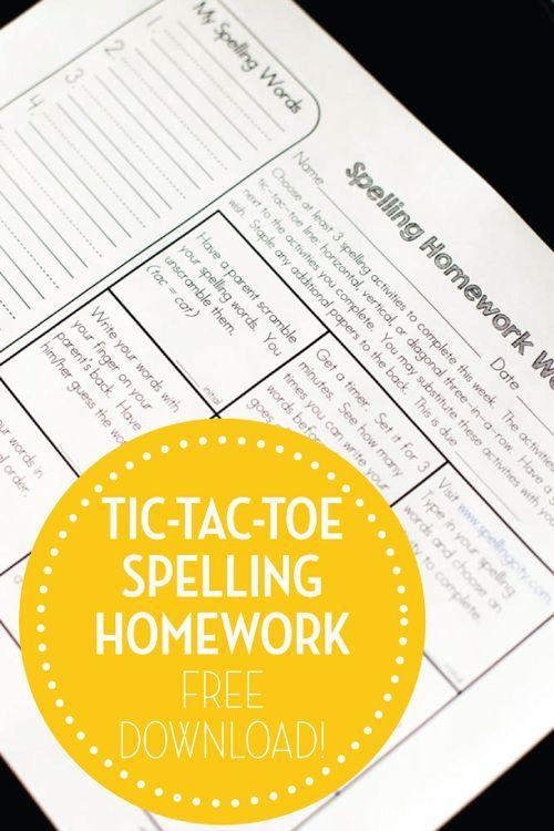 tic tac toe homework template - tic tac toe spelling homework freebie words read more