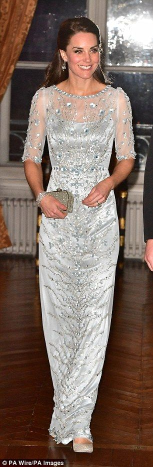 Silver Lining. Kate at a dinner hosted by Her Majesty's Ambassador to France, Edward Llewellyn, at the British Embassy in Paris and right, Letizia attends 60th anniversary of Europa Press Agency Read more: http://www.dailymail.co.uk/The Duchess and Letizia blossomed into fashion queens | Daily Mail Online