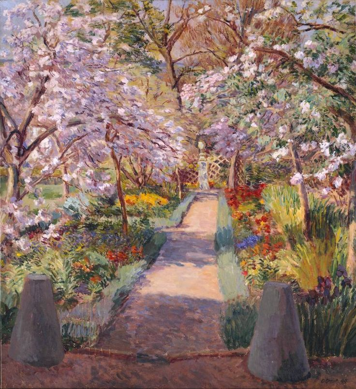 artmastered:Duncan Grant, Garden Path in Spring, 1944, oil on canvas, 91.3 x 83.2 cm, Tate Collection.