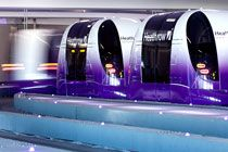 ULTra's PRT system at Heathrow - to transport business car park users between Business Car Park Terminal 5 and Terminal 5 #advancedtransit