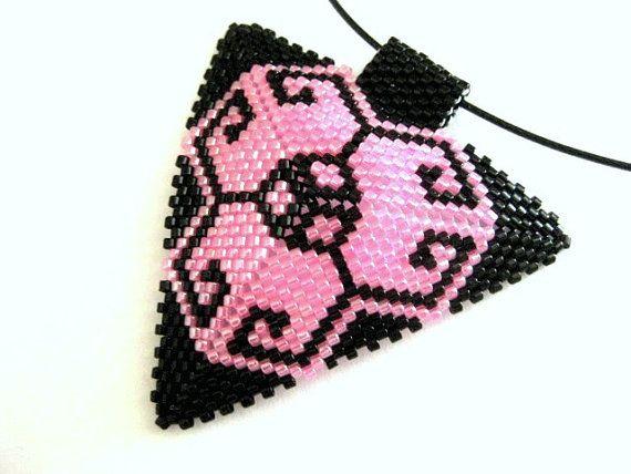 Peyote Triangle Pendant Beaded Seed Bead by MadeByKatarina on Etsy, $24.00