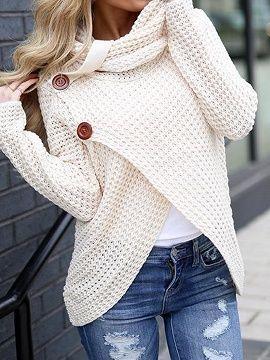 Beige High Neck Long Sleeve Chic Women Knit Sweater - Choies.com in ... f2908a073