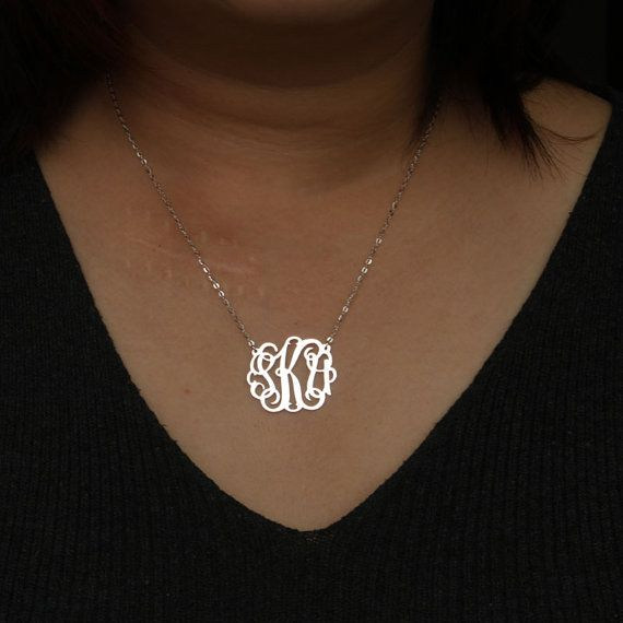 Gold Monogram necklace monogrammed gifts by JoelleJewelryDesign-$32