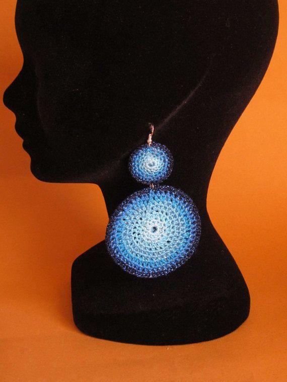 Crochet macrame  Circle boho Earrings 100% cotton di NitaNascha