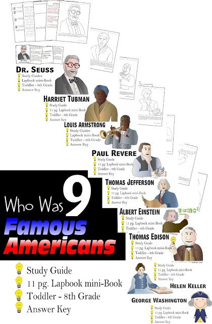 Who Was Biography Lapbook and study guide. This is perfect for helping kindergarten, first grade, 2nd grade, 3rd grade, 4th grade, 5th grade, and 6th grade with reading comprehension as they learn about Dr. Seuss, Harriet Tubman, Louis Armstrong, Paul Revere, Thomas Jefferson, Albert Einstein, Helen Keller, George Washington, and Thomas Edison.
