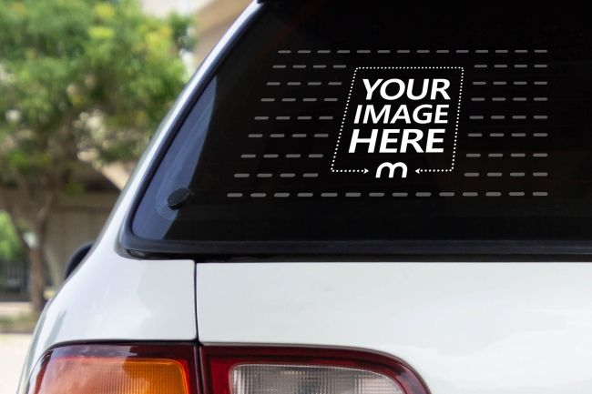 Make An Instant Car Sticker Preview With This Mockup Featuring A Closeup View Of A Car Rear Window Rear Window Decals Rear Window Car