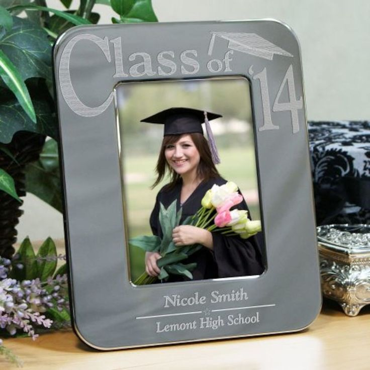 Personalized Engraved Silver Graduation Picture Frame - Gifts Happen Here
