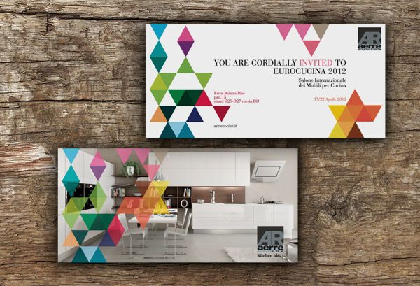 Double sided DL brochure - colourful geometric shapes overplayed across nice layout