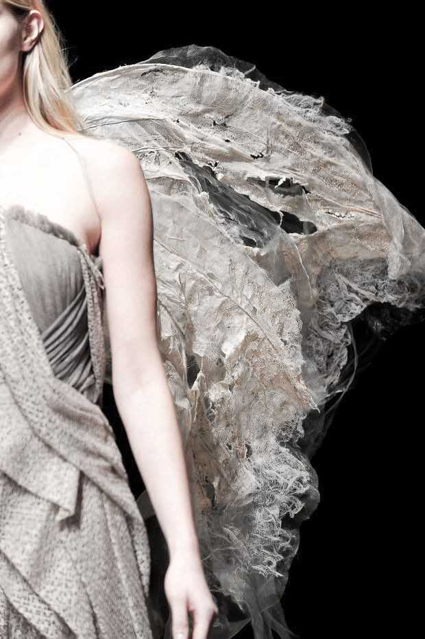 Distressed Textiles Design for Fashion - beautifully manipulated moth wings with mixed fabrics, fibers & textures // Yiqing Yin Haute Couture