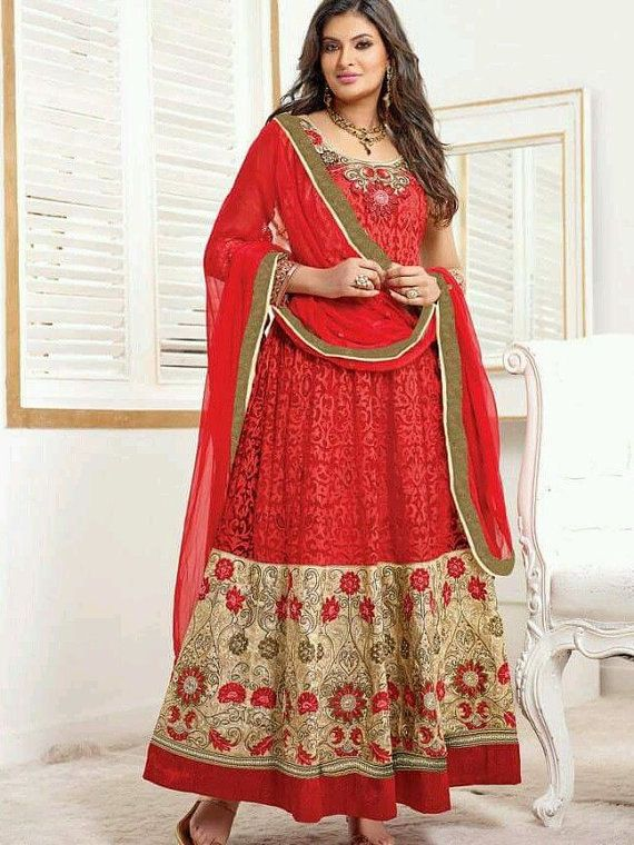 Anarkali indien Salwar concepteur pakistanais Kameez robe Partywear costume rouge Shalwar MaahRose ethnique