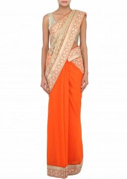 Half saree in orange and beige embellished in lucknowi embroidery only on Kalki
