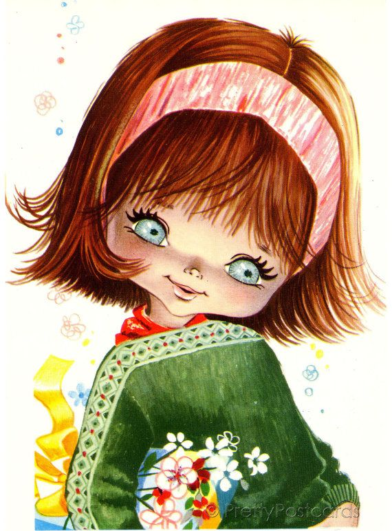 Vintage 70s Postcard of a beautiful Big Eyed Girl by PrettyPostcards