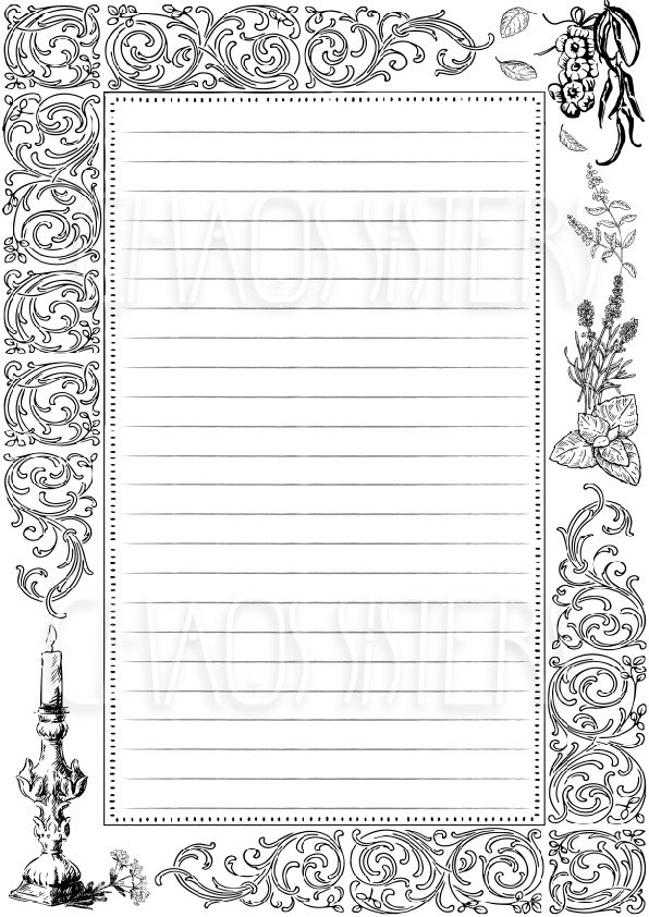 Book Of Shadows Printable Blank Page Magic Journal Spell Book