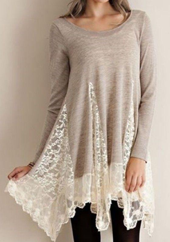 Light Grey Patchwork Lace Long Sleeve Fashion Cotton T-Shirt