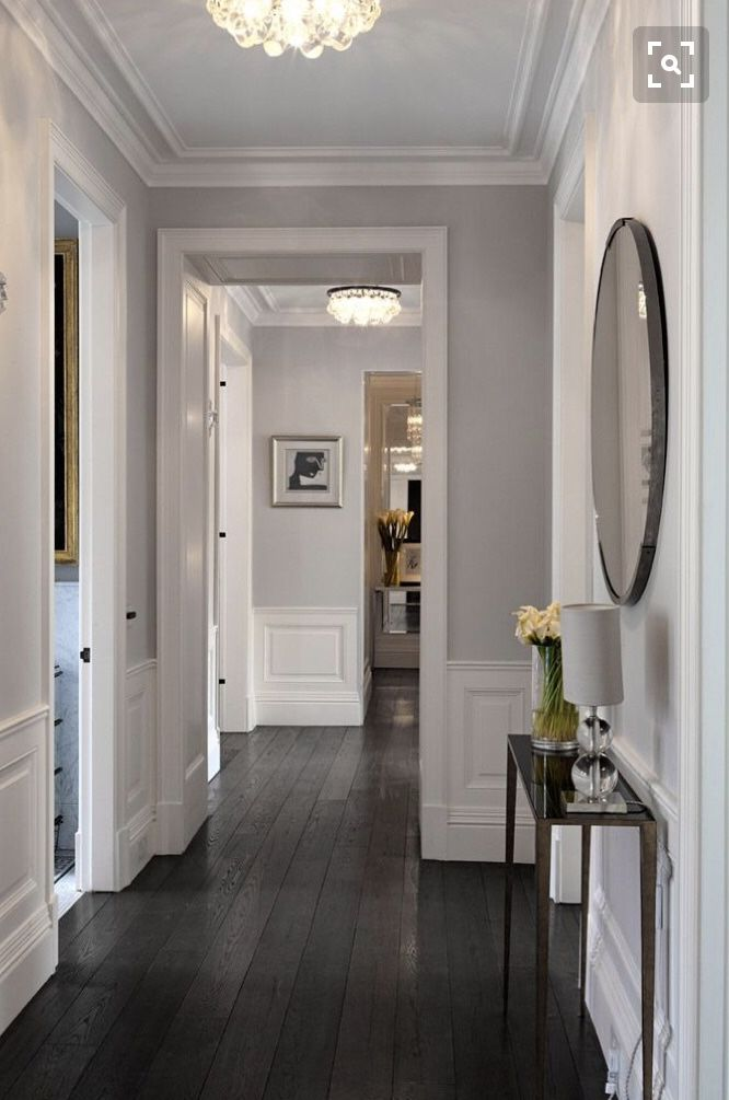 Dark Gray Living Room: Dark Oak Hardwood Flooring Hallway