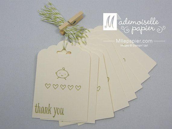 Lot de 10 étiquettes de remerciement bébé par MllePapier sur Etsy, $4,50
