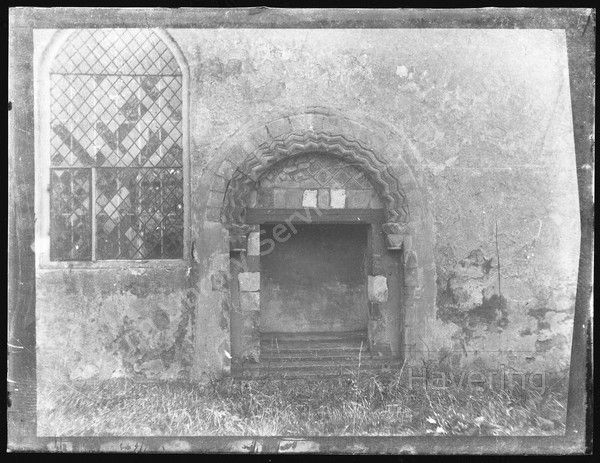 Norman doorway, probably the Church of St Helen and St Giles, Wennington Road,  Rainham