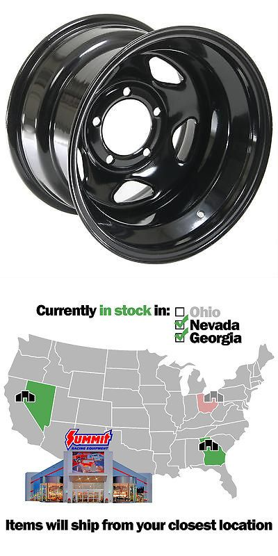auto parts - general: Cragar Black Steel V-5 Wheels 15X10 5X5 Bc Set Of 4 BUY IT NOW ONLY: $296.36