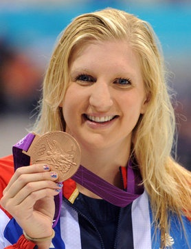 Rebecca Adlington, with her bronze medal for the 400m Women's Freestyle Swimming and her Nail Porn nails