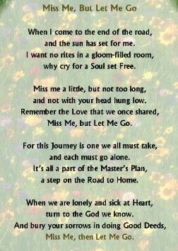 A wonderful poem about letting go of a loved one