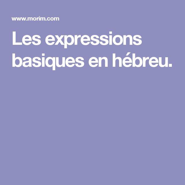 Les expressions basiques en hébreu.