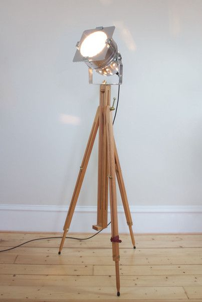Polished aluminium theatre lamp with solid beechwood tripod. Free UK delivery.
