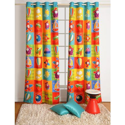 Swayam Digitally Printed Kids Curtain Blue And Yellow - Do up your child's room with this specially tailored curtain from Swayam's stable. This comes with alluring digital prints and is made of 100% blackout material. This looks really bright in yellow and blue.