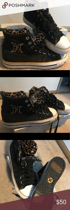 Hurley Girlie choice Hi tops. Similar to 80s 90s Hurley high top sneakers platform Chuck Taylor converse with black leopard fur. Never used with extra shoe laces in white. If you're looking for a skater rockabilly style look these are a great choice! Hurley Shoes Sneakers