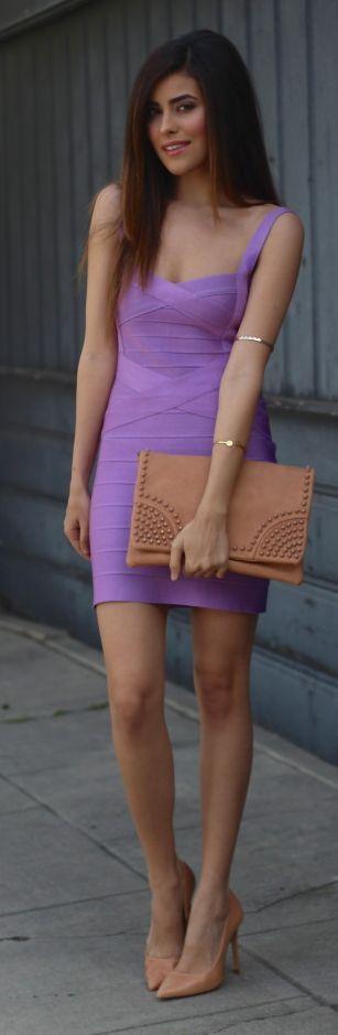 Sazan Purple Bandage Little Dress #Fashionistas