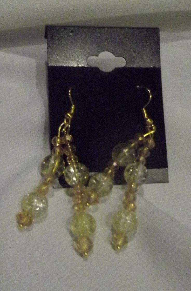 """2.5"""" dangle Earrings. Yellow & Yellow/Gold Glass with Swarovski Crystals."""
