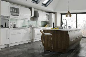 Modern curved white gloss kitchen