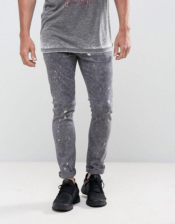 ASOS Super Skinny Jeans In Black Acid Wash With Bleach Splatter - Blac