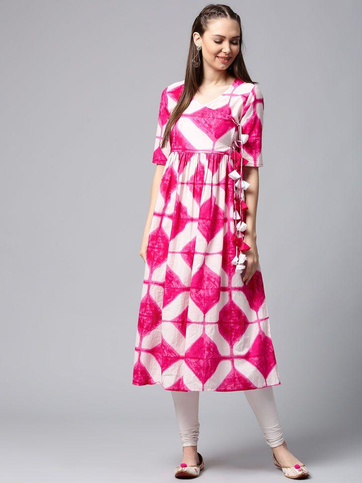 586c3bc79f Buy AKS Women White & Pink Printed Anarkali Kurta - Kurtas for Women  2250059 | Myntra