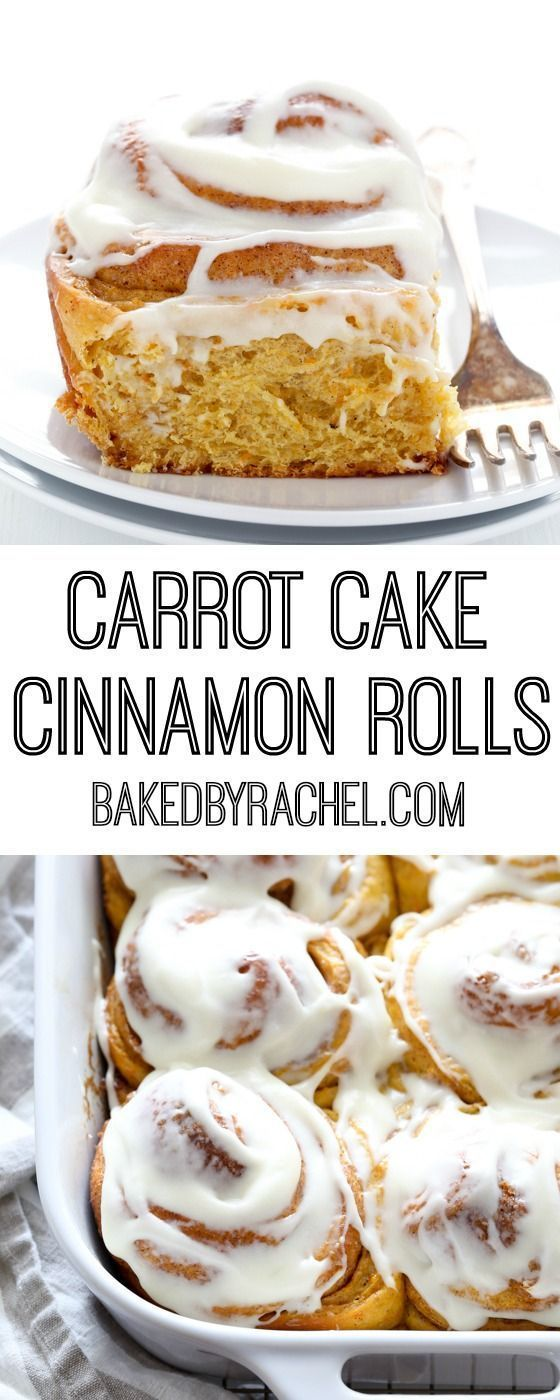 Fluffy homemade carrot cake cinnamon rolls with cream cheese icing recipe from @bakedbyrachel (bagel bakery cream cheeses)