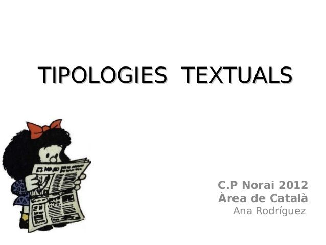 TIPOLOGIES TEXTUALS C.P Norai 2012 Àrea de Català Ana Rodríguez