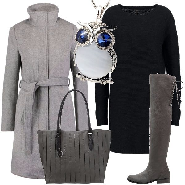 Un semplice vestito in maglina nera abbinato ad accessori grigi per una passeggiata. Viene proposto un cappotto grigio perla con cintura da allacciare, un paio di stivali alti al ginocchio e una borsa con striature nere. Un simpatico ciondolo a forma di gufo completa la proposta.