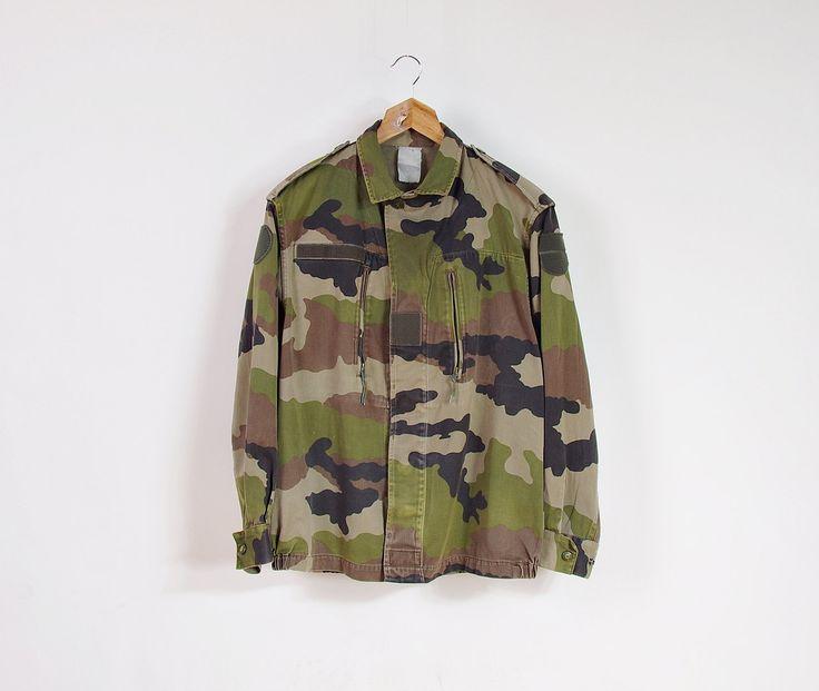 Vintage Woodland Camo Crop Jacket / Unisex Military Bomber Jacket / Men size S - M / Women size M - L by Only1Copy on Etsy